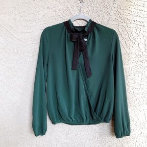 BP Emerald Green Bow Tie Neck Crossover Blouse XS